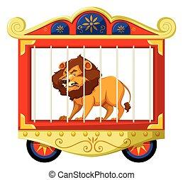 león, circo, jaula