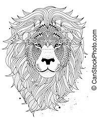 león, colorido, cabeza, página