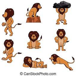 león, conjunto, carácter, colección