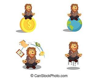 león, conjunto, meditar, caricatura, empresa / negocio