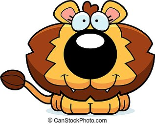 león, feliz, cachorro, caricatura