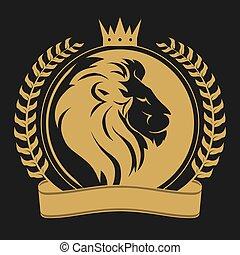 león, logotipo, corona, cabeza