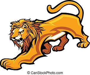 león, mascota, cuerpo, vector, gráfico