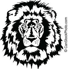 león, negro, cabeza