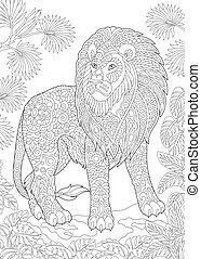 león, página, salvaje, colorido