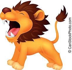 león, rugido, caricatura