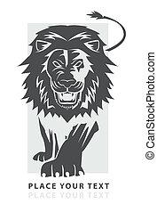 león, símbolo, caminata