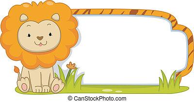 león, safari, etiqueta
