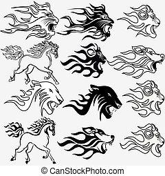 león, tatuajes, conjunto, lobo, gráfico, firehorse, pantera