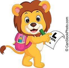 león, yendo, escuela