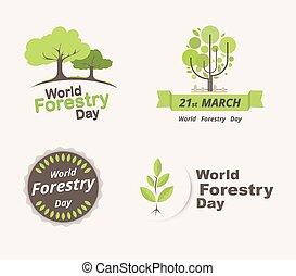 leśnictwo, 21, komplet, illustration., march., day., wektor, świat
