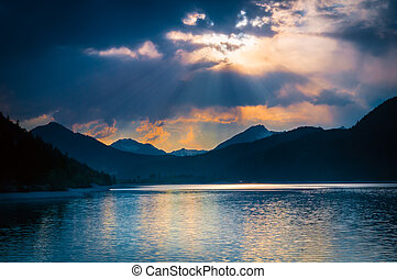 leštit, mračno, způsob, mystický, sluneční paprsci, jezero, ...