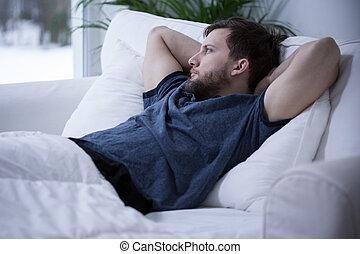leżący, łóżko, człowiek