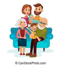 leżanka, dzieci, rodzina, posiedzenie