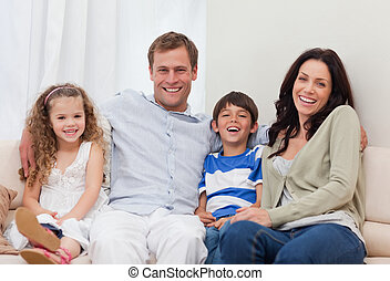 leżanka, razem, rodzina, posiedzenie
