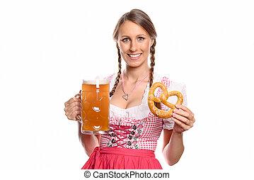 le, öl, kvinna, salt kringla, dirndl