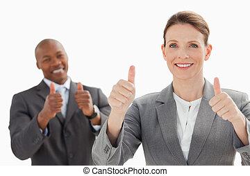 le, affärsfolk, med, tummar uppe