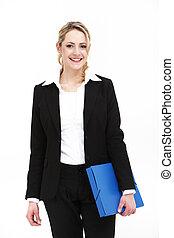 le, affärsverksamhet kvinna, holdingen, blå, mapp