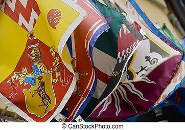 Le bandiere della contrada di Siena - Bandiere sventolanti...