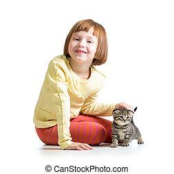 le, barn, flicka, leka, med, katt, kattunge