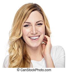 le, blondin, attraktiv, woman.
