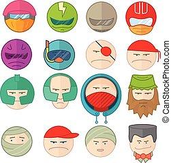 le, emoticons, vektor, illustration