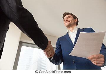 le, företag, chef, välkomna, klient, in, kontor