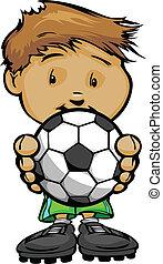 le, fotboll, hållande fotboll, unge