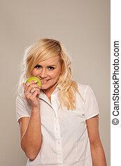 le, grön, blondin, äpple