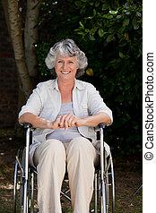 le, henne, kvinna, rullstol