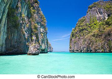 le, maya, île, baie, thailand., phi-phi
