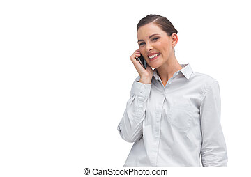 le, mobiltelefon, affärskvinna
