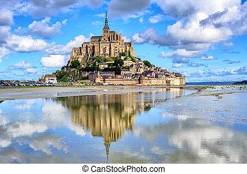 le, mont-saint-michel, ö, normandie, frankrike