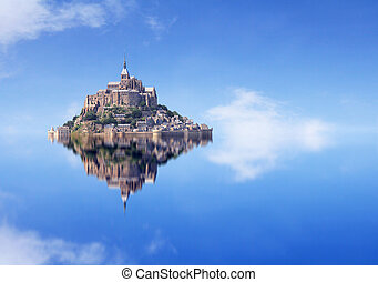 Le Mont Saint Michel, an UNESCO world heritage site in...