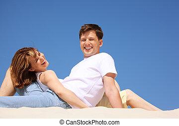 le, par, in, vita skjortor, stranden