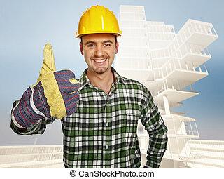 le, tusenkonstnär, och, byggnad, bakgrund