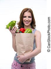 le, ung kvinna, holdingen, a, shoppingväskan, fyllda, av,...