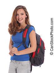 le, ung, tonåring, utbilda flicka, med, ryggsäck