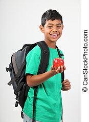 le, utbilda pojke, med, äpple