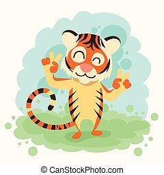 le, visa, gest, finger, tiger, två, sinnesrörelse, tecknad ...