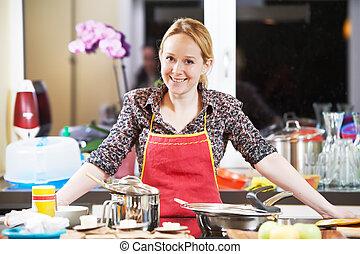 le womanen, matlagning, henne, kök
