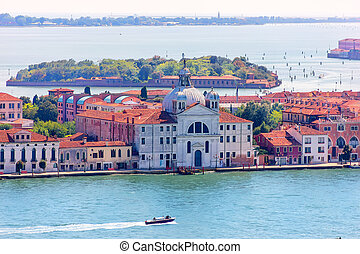 Le Zitelle Church in Venice, view from the Campanile in Piazza San Marco