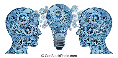 Lead and Learn Innovation strategy with two human brains working together as a business team to find solutions and answers to challenges showing gears and cogs with an innovative ligthbulb concept of new ideas.