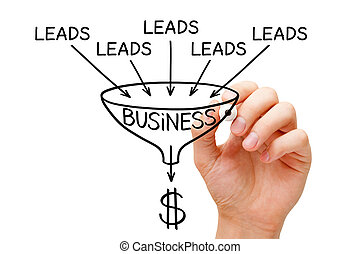 Lead Generation Business Sales Funnel Concept - Hand ...