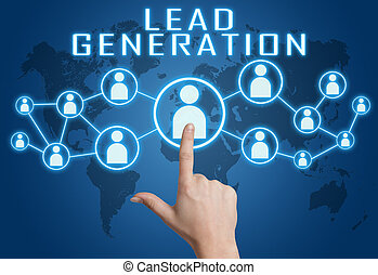 Lead Generation concept with hand pressing social icons on ...