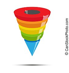 Infographics of lead generation, sales funnel of five color sections, volume simulation.