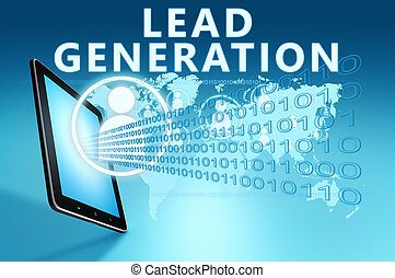 Lead Generation illustration with tablet computer on blue ...
