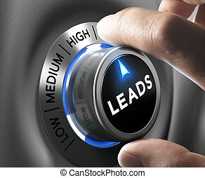 Lead Generation - Leads button pointing high position with...