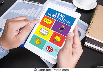LEAD GENERATION Modern people doing business, graphs and...