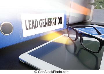LEAD GENERATION Office folder on Desktop on table with...